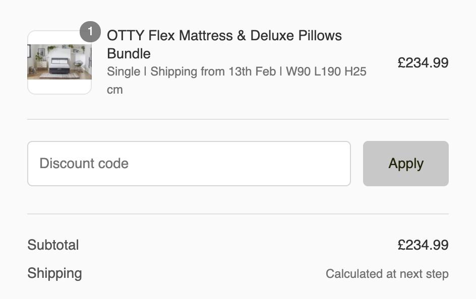 otty mattress discount code